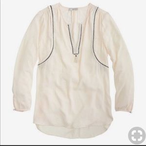 J. Crew Tassel Rope Trim Cream Semi-Sheer Top Sz 8